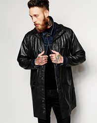 Rains Long Jacket With Reptile Print Black