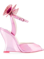 Sophia Webster Bow Detail Wedge Sandals Pink Purple