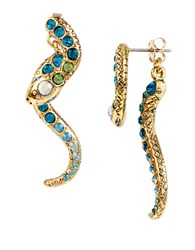 Betsey Johnson Ocean Drive Pave Crystal Snake Front And Back Linear Earrings Blue