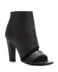 Vince Sansa Embossed Open Toe High Heel Booties Black