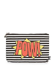 Sam Edelman Top Zip Printed Pouch Black Multi