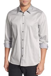 Ted Baker Modern Slim Fit Plancuf Stretch Long Sleeve Sport Shirt Gray
