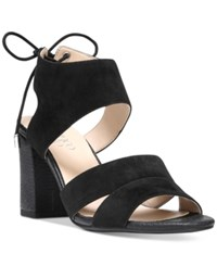 Franco Sarto Gem Lace Up Block Heel Sandals Women's Shoes Black