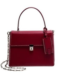 Valentino Rockstud Leather Top Handle Satchel Dark Red
