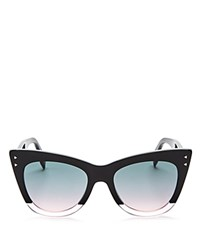 Fendi Two Tone Cat Eye Sunglasses 50Mm Opal Navy Blue Blue Gradient Mirror