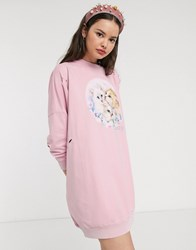 Lazy Oaf Oversized Sweat Dress With Kittens Graphic Pink