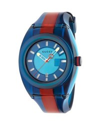 Gucci 46Mm Sync Sport Watch W Rubber Strap Blue Red Blue Red