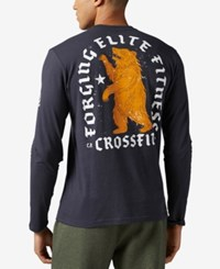 Reebok Men's Bear Graphic Long Sleeve Cotton T Shirt Lead
