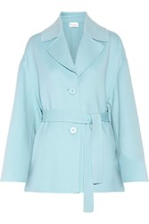 Mansur Gavriel Oversized Belted Wool And Cashmere Blend Coat Sky Blue