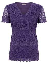 Kaliko Tiered Lace Jersey Top Mid Purple