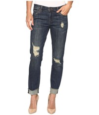 Kut From The Kloth Amy Crop Straight Leg In Animation Animation Dark Stone Base Wash Women's Jeans Blue