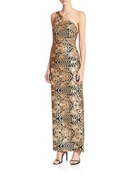 Laundry By Shelli Segal Platinum Sequined One Shoulder Gown Gold
