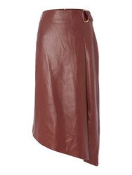Biba Faux Leather Assymetric D Ring Skirt Burgundy
