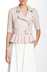 French Connection Desert Suede 3 4 Sleeve Belted Leather Jacket Pink