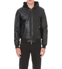 Armani Jeans Hooded Faux Leather Jacket Black