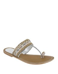 Mia India Beaded Sandals White