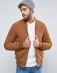 Asos Suede Bomber Jacket With Embroidery In Tan Tan