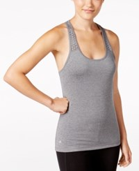 Ideology Perforated Performance Racerback Tank Top Only At Macy's Charcoal Hather