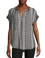 Velvet By Graham And Spencer Short Sleeve Split Neck Blouse Black Diamond