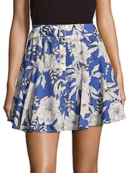 Lovers Friends Floral Print Flared Mini Skirt Blue Multi