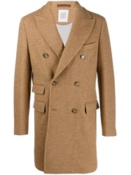 Eleventy Double Breasted Coat Neutrals