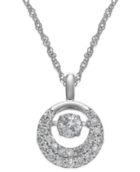 Twinkling Diamond Star Diamond Circle Pendant Necklace In 14K White Gold 1 3 Ct. T.W.