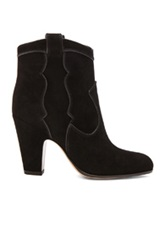 Gianvito Rossi Western Pearl Suede Booties In Black