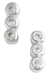 Jules Smith Designs Women's Triple Bezel Stud Earrings Silver Clear
