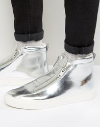 Asos Zip Trainers In Silver Metallic With Chunky Sole Silver
