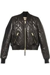 Burberry Brit Quilted Leather Bomber Jacket Black