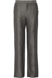 Valentino Linen And Wool Blend Straight Leg Pants Gray