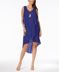 Thalia Sodi Ruffled High Low Shift Dress Created For Macy's Royal Blueberry