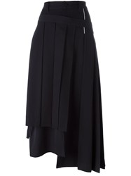 Yohji Yamamoto Wrapped Pleated Skirt Blue