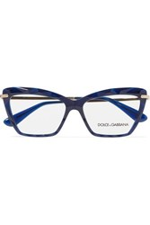 Dolce And Gabbana Cat Eye Acetate Gold Tone Optical Glasses Navy