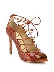 Alexandre Birman Crocodile Lace Up Pumps Brown