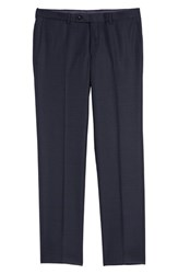 Ted Baker London Jefferson Flat Front Plaid Wool Trousers Navy