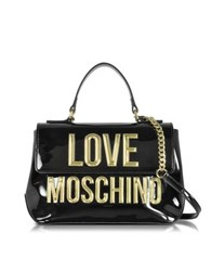 Love Moschino Black Patent Eco Leather Shoulder Bag W Signature Logo