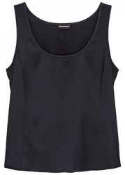 Emporio Armani Midnight Blue Stretch Silk Satin Tank Navy