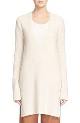 Helmut Lang Women's Long V Neck Wool And Cashmere Sweater