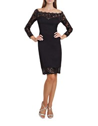 Js Collections Lace Trim Off The Shoulder Dress Black