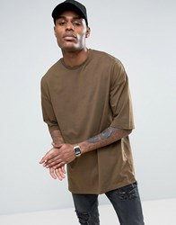 Asos Oversized T Shirt In Brown With Half Sleeve Brown