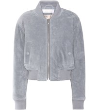 See By Chloe Suede Bomber Jacket Blue