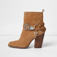 River Island Womens Brown Suede Western Buckle Boots