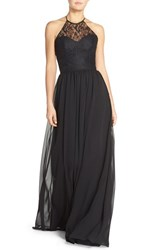 Women's Hayley Paige Occasions Lace And Chiffon Halter Gown Black