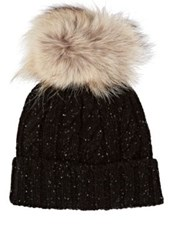 Crown Cap Men's Fur Embellished Marled Lambswool Blend Beanie Black