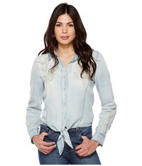 Blank Nyc Denim Embroidered Shirt With Knotting Detail In Washed Up Washed Up Women's Long Sleeve Button Up Blue