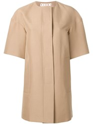 Marni Structured Single Breasted Coat Nude Neutrals
