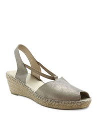 Andre Assous Dainty Fabric Espadrille Wedge Sandals Pewter