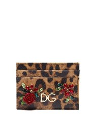 Dolce And Gabbana Leopard Print Dauphine Leather Cardholder Leopard