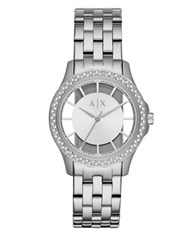 Armani Exchange Lady Hampton Stainless Steel Link Bracelet Watch Silver